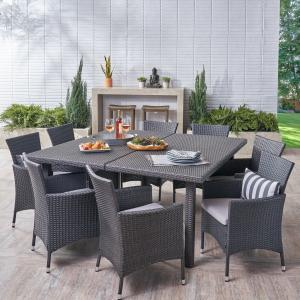 Luca Outdoor 9 Piece Wicker Square Dining Set, Grey, Silver