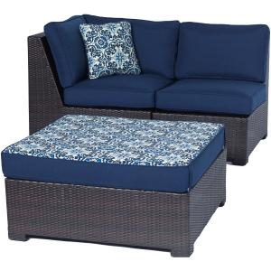 Hanover Metro Mini 3pc Set: Corner Wedge, Armless Chair, and Ottoman with Navy Cushions and Brown Frame