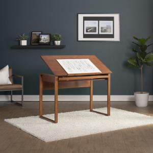 """SD Alpha Brown Wood Drafting Table with Adjustable Wood Top"""