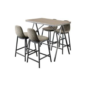 Furniture of America Arnilo 5-Piece Counter Height Dining Set, Gray