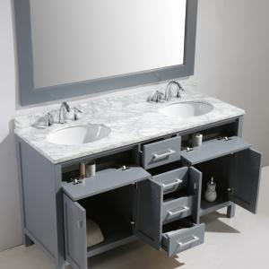 Design Element London 61″ Double Sink Bathroom Vanity Set in Gray Finish with Carrara Marble Top