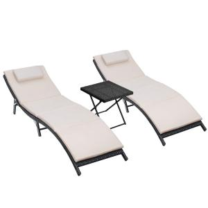 Walnew 3 PCS Patio Furniture Outdoor Lounge Chairs Folding Lawn Poolside Patio Chaise Lounge Sets PE Rattan Chaise Lounges with Side Table and Beige Cushion