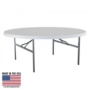 Lifetime White Granite 6 Foot Round Table with Folding Legs, 22673