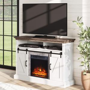 Whalen Allston Barn Door Fireplace TV Stand for TVs up to 58″, White Finish with Brown Top