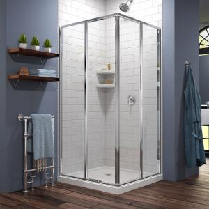 DreamLine Cornerview 42 in. D x 42 in. W x 74 3/4 in. H Framed Sliding Shower Enclosure in Chrome with White Acrylic Base Kit