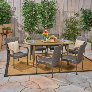 Jennifer Outdoor 7 Piece Acacia Wood Dining Set with Stacking Wicker Chairs, Gray, Gray