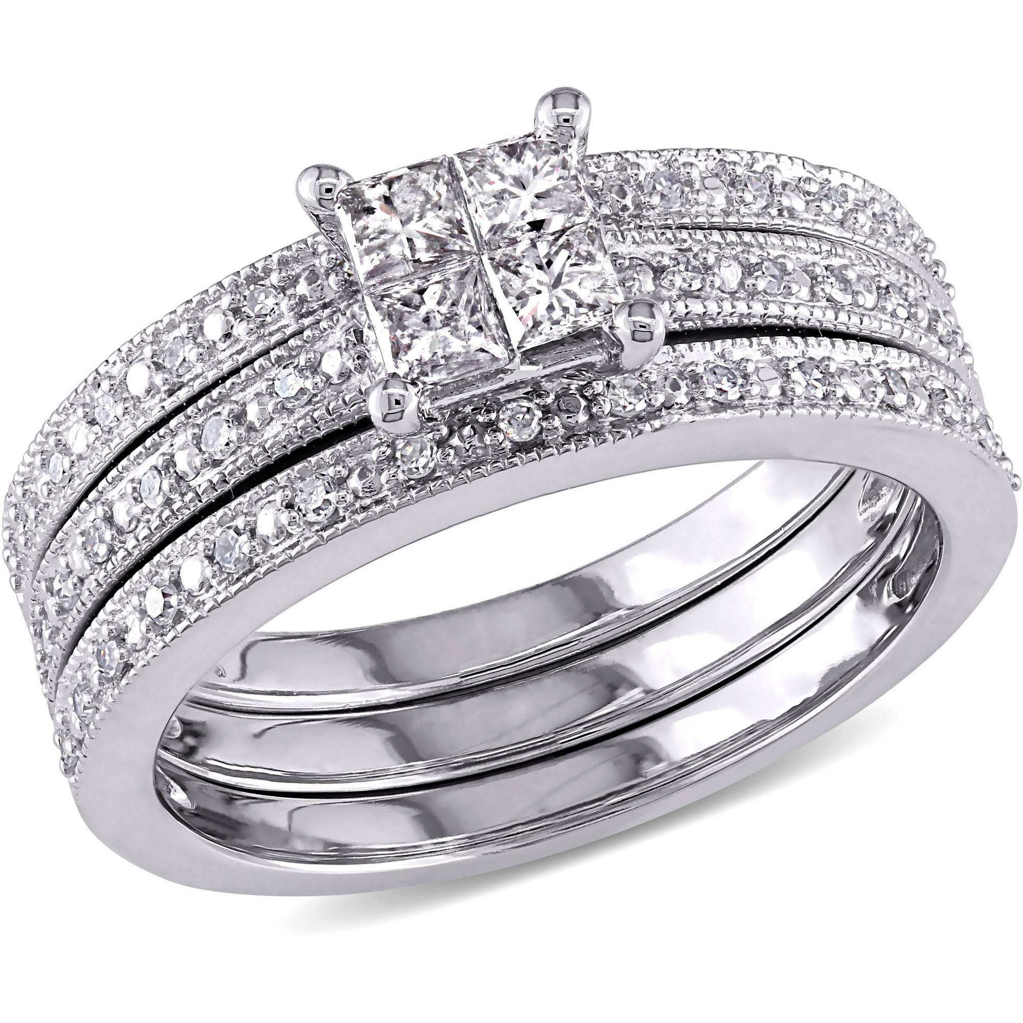 3/8 Carat T.W. Princess and Round-cut Diamond 10kt White Gold Bridal Set