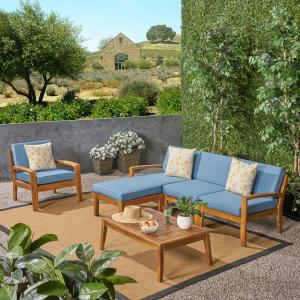 Wilcox Outdoor 6 Piece Acacia Wood Sectional Sofa Set with Cushions, Teak, Blue