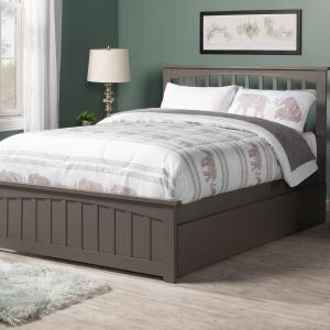 Mission Platform Bed with Matching Foot Board with Twin Size Urban Trundle Bed in, Multiple Colors and Sizes