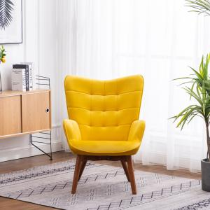 Leiria Contemporary Silky Velvet Tufted Accent Chair with Ottoman, Yellow