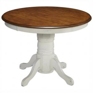 The French Countryside Oak and Rubbed White Pedestal Table