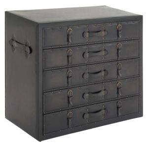 DecMode Wood Traditional Chest, Black Faux Leather, 36″W