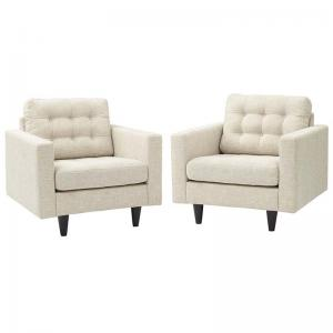 Modway Empress Fabric Upholstered Armchair, Set of 2, Multiple Colors