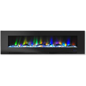 Cambridge 60″ Wall-Mount Electric Fireplace Heater with Multi-Color LED Flames and Driftwood Log Display