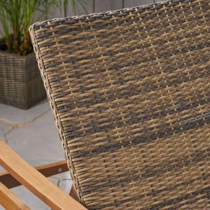 Camdyn Outdoor Rustic Acacia Wood Chaise Lounge with Wicker Seating (Set of 2), Natural and Mixed Mocha
