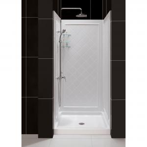 DreamLine 36 in. D x 36 in. W x 76 3/4 in. H Center Drain Acrylic Shower Base and QWALL-5 Backwall Kit In White