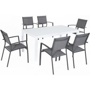 Hanover Del Mar 7-Piece Outdoor Dining Set w/ 6 Sling Chairs in Gray and 40″ x 78″ Dining Table