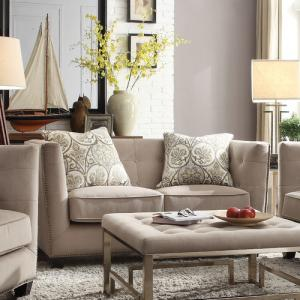 ACME Juliana Down Feather Filled Loveseat with 2 Pillows, Beige Fabric