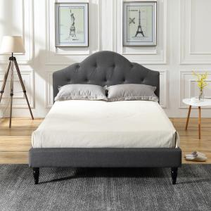 Modern Sleep Winterhaven Upholstered Platform Bed | Headboard and Wood Frame with Wood Slat Support | Multiple Colors and Sizes