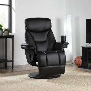 OFM Essentials Collection Home Entertainment Recliner, in Black (ESS-7070-BLK)