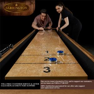 Barrington Urban Collection 9′ Shuffleboard Table, Accessories Included, Brown/Grey