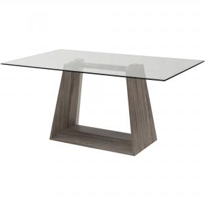 ARMEN LIVING Bravo Contemporary Dining Table, Dark Sonoma Base With Clear Glass Top