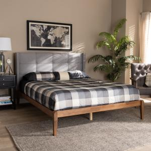 Baxton Studio Edmond Modern and Contemporary Grey Fabric Upholstered and Ash Walnut Brown Finished Wood Full Size Platform Bed