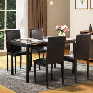 EUROCO 5-Piece Faux Marble and PU Leather Dining Set