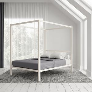 Modern Canopy Queen Metal Bed, Multiple Colors – White