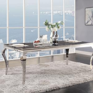 Acme Fabiola Dining Table in Stainless Steel and Black Glass