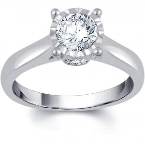 1 Carat T.W. IGL Certified Round White Diamond 14kt White Gold Sol Plus Engagement Ring