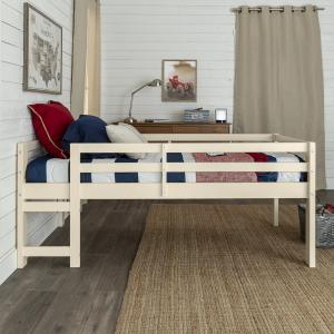 Manor Park Traditional Solid Wood Twin Low Loft Bed, White