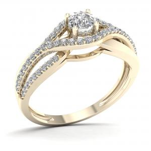 1/3ct TDW Diamond 10K Yellow Gold Bypass Engagement Ring