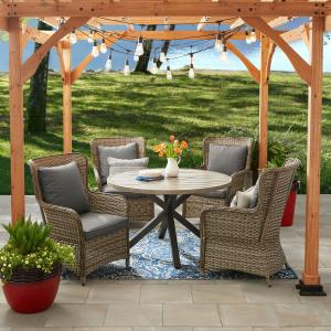 Better Homes and Gardens Victoria Outdoor Dining Patio Set, Cushioned Wicker 5 Piece