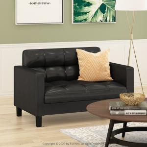 Furinno Brive Contemporary Tufted Loveseat, Black Faux Leather
