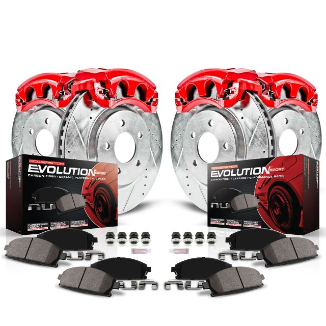 Power Stop Front and Rear Z23 Evolution Brake Pad and Rotor Kit with Red Powder Coated Calipers KC1431