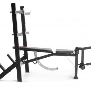 Weider Legacy Olympic Workout Bench and Rack with Integrated Leg Developer and Weight Plate Storage