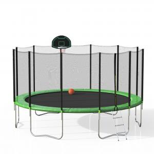EUROCO 16′ Trampoline with Basketball Hoop and Enclosure, Green