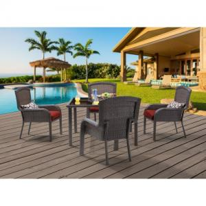Hanover Outdoor Strathmere 5-Piece Dining Set with 48″ Square Table, Crimson Red/Aged Barrel