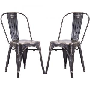 High Back Steel Stackable Vintage Metal Dining Chair Home Restaurant Retro Chair Household Furniture