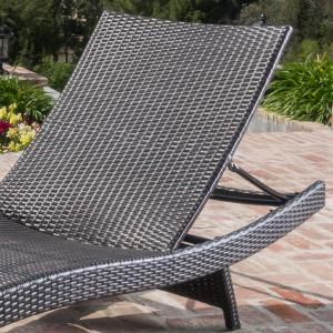 Outdoor Brown Wicker Adjustable Chaise Lounge Chair (Set of 2)