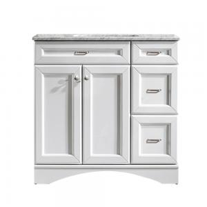 Naples 36″ Vanity in White with Carrara White Marble Countertop without Mirror