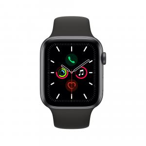 Apple Watch Series 5 GPS, 44mm Space Gray Aluminum Case with Black Sport Band – S/M & M/L