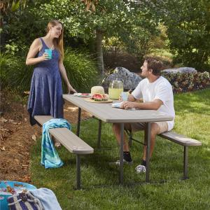 6 ft. Folding Blow Mold Picnic Table, Gray Wood Grain with Brown Legs