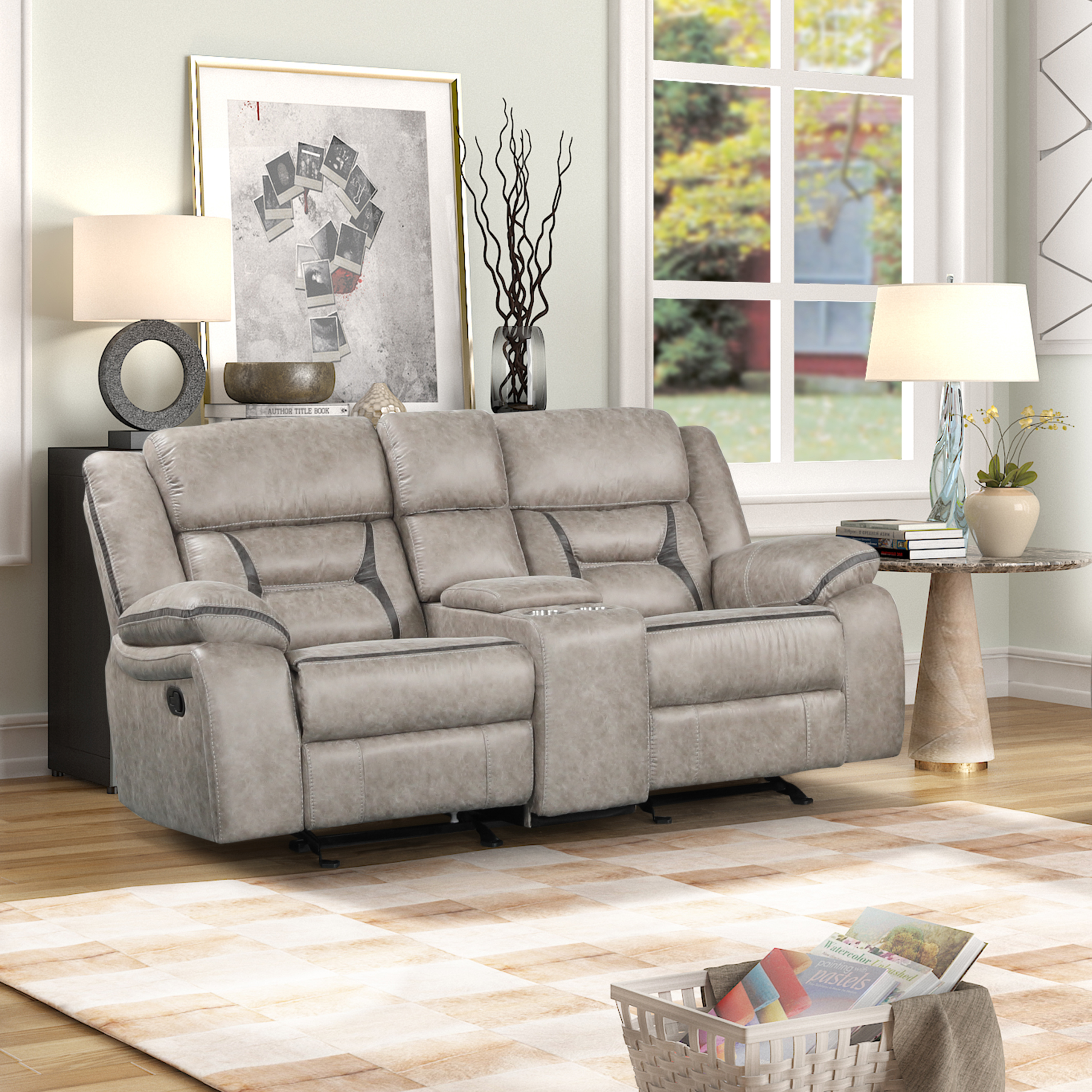 Elkton Manual Motion Reclining Loveseat with Storage Console, Taupe