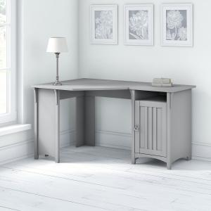 Bush Furniture Salinas 55W Corner Desk with Storage in Cape Cod Gray