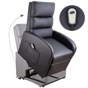 Walnew Slim Power Lift Recliner with Massage, Remote Control and Huge Pocket, Black Faux Leather