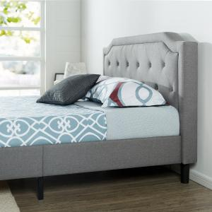Zinus Kellen Upholstered Scalloped Button Tufted Platform Bed with Wood Slat Support, Multiple Sizes