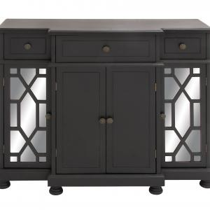 DecMode Wood Glam Cabinet with Geometric Mirror, Black, 43″W