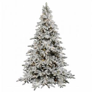 Vickerman 9′ Flocked Utica Fir Artificial Christmas Tree with 1000 Warm White LED Lights
